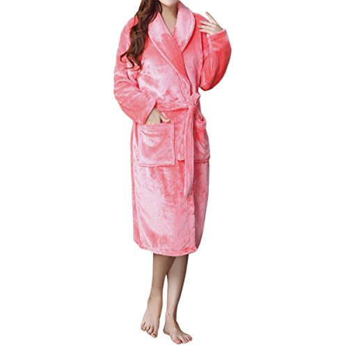 LAPAYA Women's Long Kimono Robe Soft Fuzzy Shawl Collar Warm Plush Fleece Bathrobe, Watermelon Red, Small/Medium