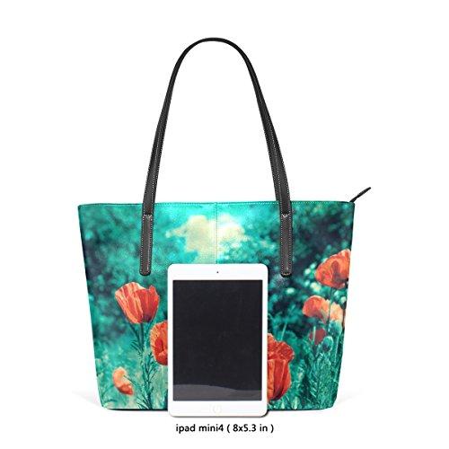 für Schultertasche und Tasche Vintage Poppies Handtasche Handtaschen COOSUN Field Leder Frauen PU xC1vWTqw