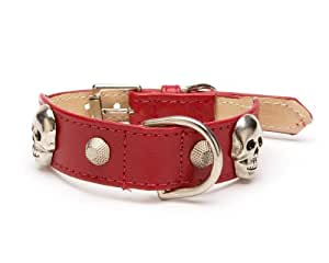 Large Skull Rivet Tapered Dog Collar, Extra Large Size 17-22, Red