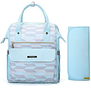 mommore Fashion Baby Diaper Backpack Travel Nappy Tote Bag Roomy Changing Backpack with Changing Pad for Baby Care, Light Blue