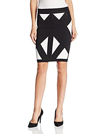 BCBGMAXAZRIA Women's Natalee Geometric Jacquard Pencil Skirt, Black Combo, X-Small