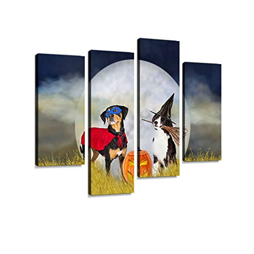 Dogs in Halloween Costumes at Night Canvas Wall Art Hanging Paintings Modern Artwork Abstract Picture Prints Home Decoration Gift Unique Designed Framed 4 Panel