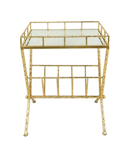 Sagebrook Home 12283-04 Metal & Glass Magazine Rack Accent Table, Gold Metal/Mirror/Mdf, 18 x 12 x 23.25 Inches by Sagebrook Home