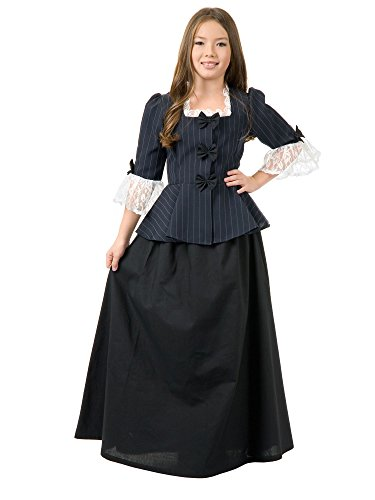Colonial Girl Martha Washington Child Costume - Large (Girls Victorian Dress)