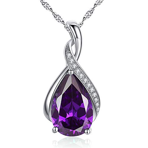 (MABELLA Sterling Silver Simulated Amethyst Birthstone Pendant Necklace Jewelry,Mother's Day Gifts for Women)