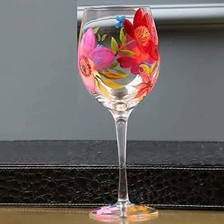 SCRT Vasos de Vino Pintado a Mano del Vidrio de Vino Rojo y Blanco cráneo Copas de Vino - 280ml, for Aniversario del cumpleaños del día de San Valentín (Color : Pink Flowers)