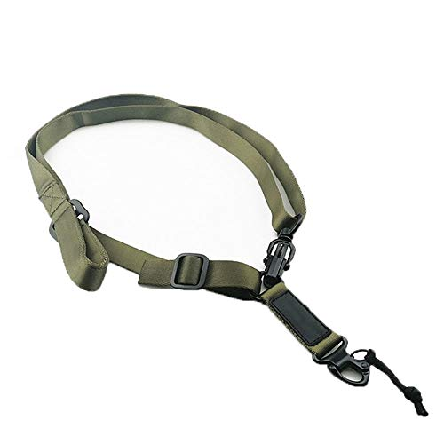 Tactical Two Points Safety Sling Outdoor Belt Sling Adjustable Multi-Function Rope Strap Mountaineering Rope with Metal Hook (Green)