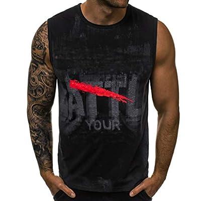 NUWFOR Men Letter Printed Sports Vest Striped Splice Large Open-Forked Male Vest