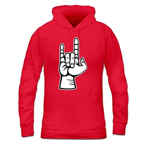 Sudadera con capucha de mujer Rock And Roll Hand by Shirtcity Rojo