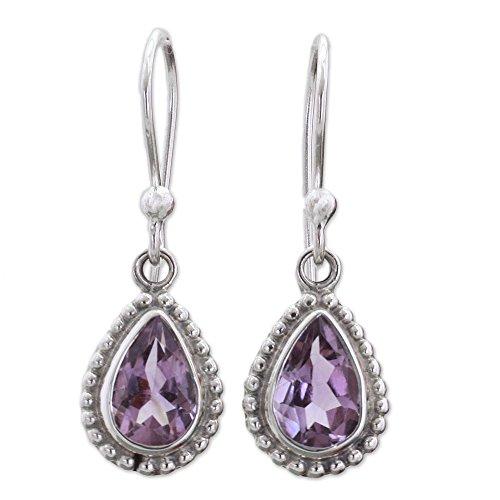 NOVICA Teardrop Shape Amethyst .925 Sterling Silver Dangle Earrings 'Radiant Lilac'
