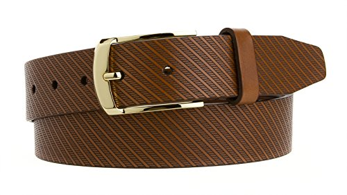 (Mens Dress Belt Made in the USA Italian Saddle Leather with a Gold Plated Buckle 1 1/4