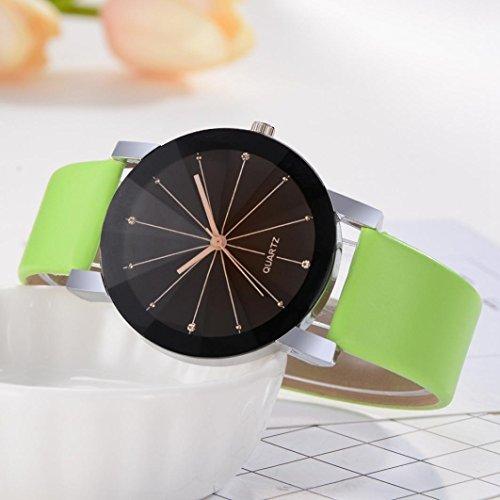 Zarupeng Reloj redondo de cuero del reloj del dial del cuarzo de los hombres de 1PC Ronda (Verde): Amazon.es: Relojes