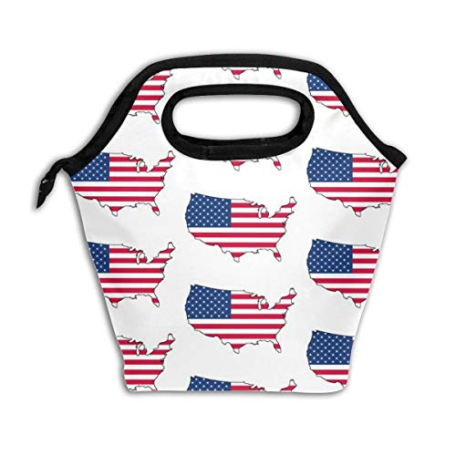 USA Flag Overlay_108Lunch Bag Insulated Lunch Box Reusable Lunch Tote Cooler Organizer Bag Lunch Bags for Women,Men and Kids Adults