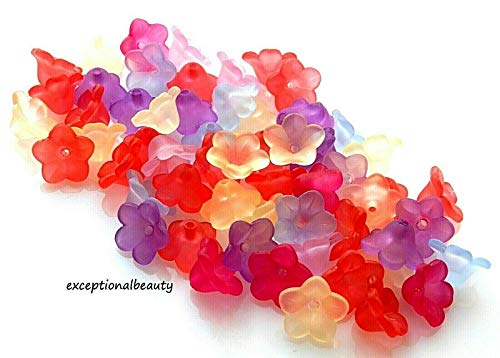 100 Assorted 11x7mm Frosted Lucite Scalloped Tulip Cone Flower Mix Craft Beads