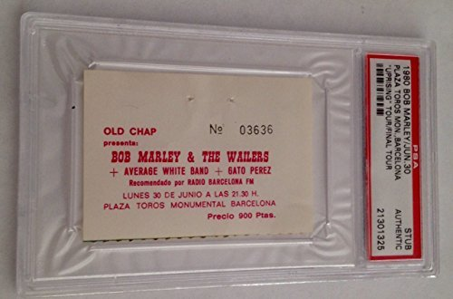 Bob Marley & The Wailers Barcelona 6/30/80 PSA Authentic Ticket Stub