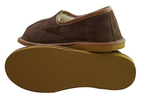 Natleat Slippers Womens Mens Unisex Natura Leather And Sheep's Wool Lining Slippers Brown / suede ZvB3rH
