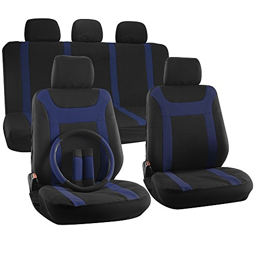 OxGord 17-Piece Y Stripe Seat Cover Set - Polyester Fabric (Blue/Black) (07 Jeep Wrangler Seat Covers compare prices)
