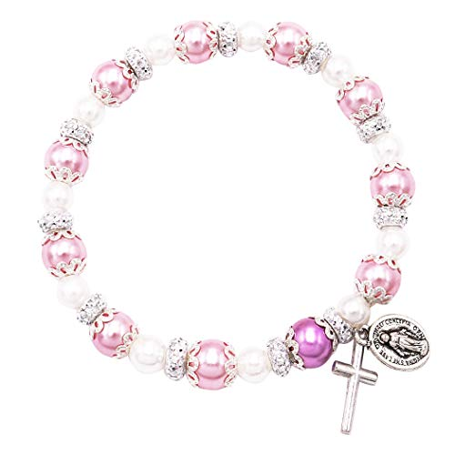 Rosemarie Collections Women's Simulated Pearl Beaded Stretch Rosary Bracelet with Crucifix and Miraculous Medal (Pink)