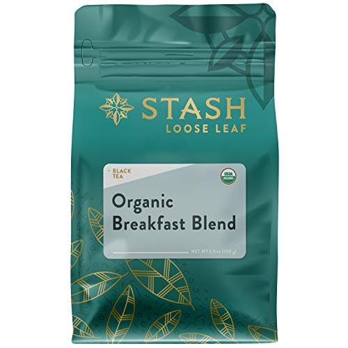 Stash Tea Organic Breakfast Blend Black Loose Leaf Tea 3.5 Ounce Pouch Loose Leaf Premium Organic Black Tea for Use with Tea Infusers Tea Strainers or Teapots, Drink Hot or Iced, Sweetened or Plain ()