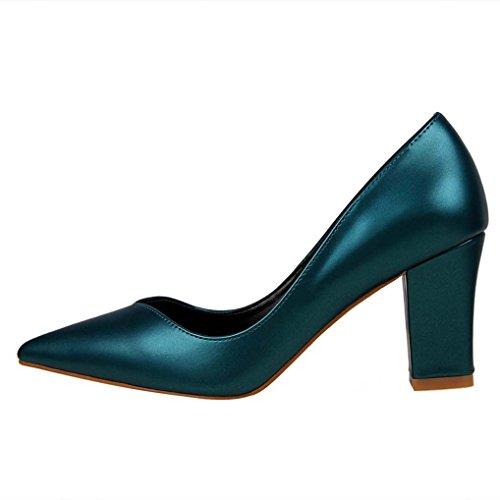 Bout Cuir Confort Aspect Talon Chaussures Pointu Femme Soirée Moyen Escarpins Vert foncé Job OALEEN Bloc xRZFEwq8