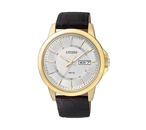 Citizen-Mens-Brown-Leather-Strap-Watch