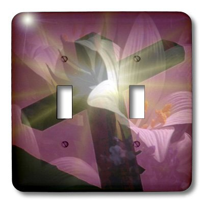 3dRose lsp_42952_2 Christian Cross and Lily Double Toggle Switch by 3dRose