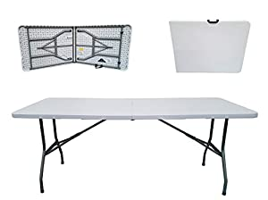 folding tables uk rectangular plastic top fold in half table 400 kg load capacity with steel securing pins 6foot