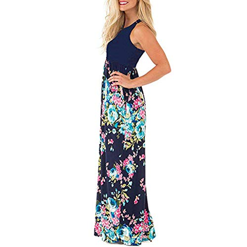 Women's Summer Boho Lovor Sleeveless Floral Print Tank Splice Floral Printed Long Maxi Dress Beach Vacation(Navy,M)