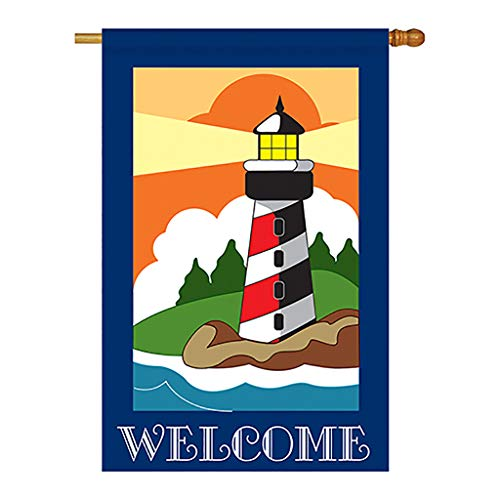 - Breeze Decor Two Group H106052-P2 Lighthouse Coastal Nautical Applique Decorative Vertical 28