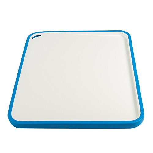"""Rekukos Nonslip Double Sided Plastic Chopping Cutting Board With Silicone Edges,15 Degrees Slop Gurface,14"""" x 10"""" (Blue)"""