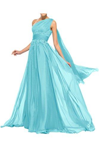Sunvary alta cintura a-line One Shoulder gasa Party vestidos dama de honor Azul
