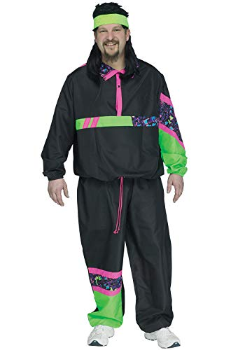 Fun World Men's Plus Size 80s Male Track Suit Costume, Multi, Plus Size, Plus Size -