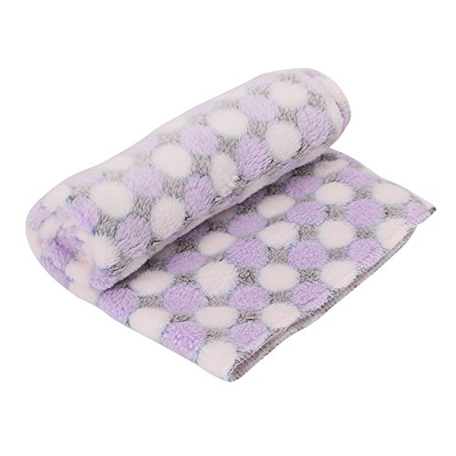 LAYs 40x60cm Pet Dog Cat Blanket Soft Bed Sleeping Cushion Mat Pad Cotton Washable for Puppy Doggy (Purple)