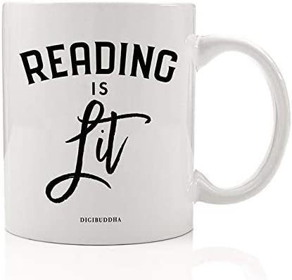 DIGIBUDDHA READING IS LIT Coffee Mug Great Gift Idea for Book Literature Lovers English Teacher Professor Student Book Avid Reader Family Friend Coworker Christmas Birthday 11oz Ceramic Tea Cup