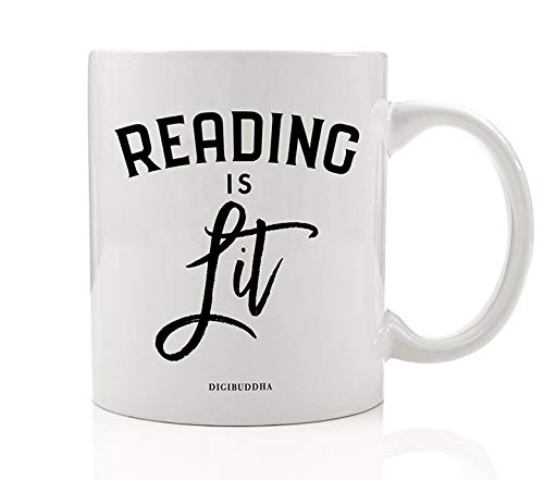 READING IS LIT Coffee Mug Great Gift Idea for Book Literature Lovers English Teacher Professor Student Book Avid Reader Family Friend Coworker Christmas Birthday 11oz Ceramic Tea Cup Digibuddha DM0769