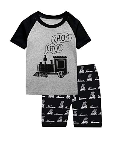Train Pajamas for Boys 100% Cotton Kids Pjs Toddler Summer Sleepwear Short Clothes Set Gray 2T -