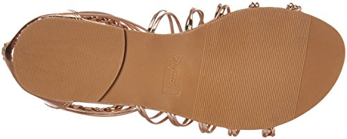 Gold Women's Qupid Caged Rose Flat Sandal nXSUr6S