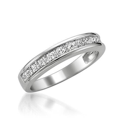 Platinum Princess-cut Diamond Bridal Wedding Band Ring (1 cttw, G-H, VS2)