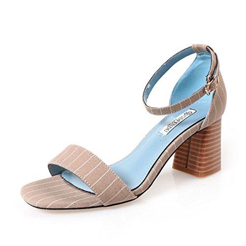 QWER Sandalias de Mujer Los Zapatos de Trabajo Negro Rayas Corbata  ranurados de Verano de Tela 9fc234913544