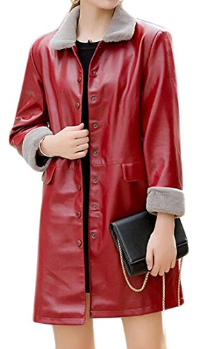 Cruiize Womens Faux Leather 3/4 Sleeve Button Front Thick Trench Coats Red (3/4 Sleeve Leather Jacket)