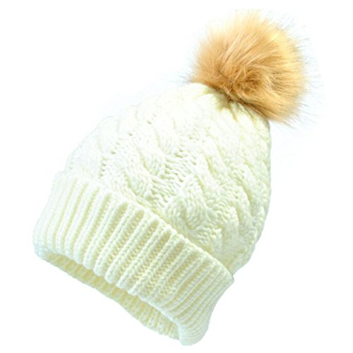 GOTD Baby Winter Warm Knit Hat Infant Toddler Kid Crochet Fur Hairball Beanie Cap (White)