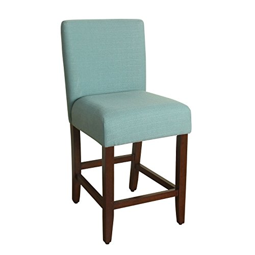 HomePop Upholstered Counter Height Barstool, 24-inch, Textured Aqua ()
