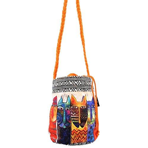 Women's Sun N Sand, Laurel Burch Long Neck Drawstring Crossbody WHITE MULTI N (Handbag Print Drawstring Purse)