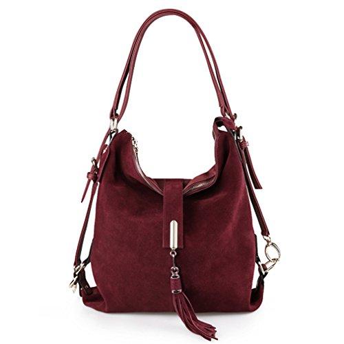 Shoulder Hobo Leather Bag Suede Burgundy Nubuck Firstider Handbag Messenger Eisure Women TOt6wwFqx