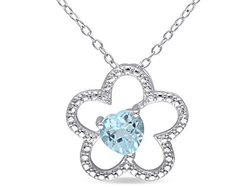 (Sky Blue Topaz Flower Pendant Necklace 1 Carat (ctw) with Chain in Sterling Silver)