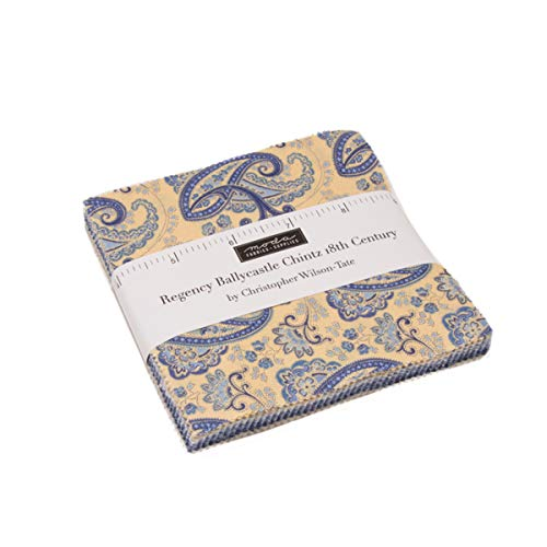 Regency Comforter - Regency Ballycastle Chintz Charm Pack by Christopher Wilson Tate; 42-5 Inch Precut Fabric Quilt Squares