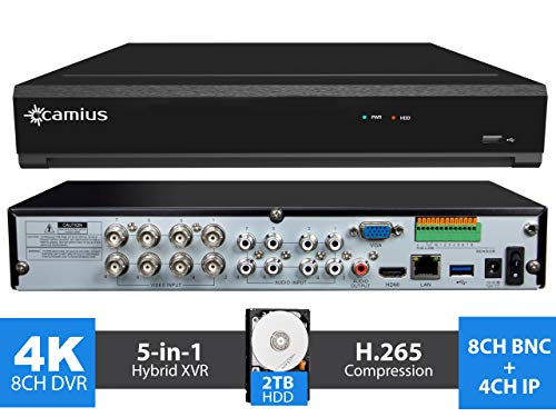 Camius 4K Hybrid 8 Channel DVR with 2TB HDD, Accepts 8CH Analog and 4CH IP Security Cameras, Hybrid 5-in-1 12CH XVR, 4K HDMI, VGA, SPOT-Output, Audiio, Alarm IO – Sold Without Cameras