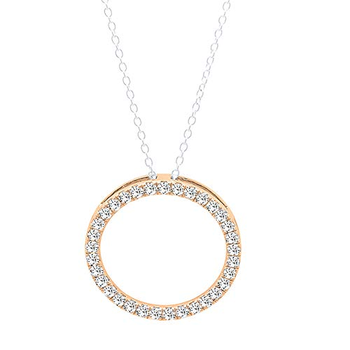 (Dazzlingrock Collection 0.10 Carat (ctw) 14K Round White Diamond Circle Pendant 1/10 CT (Silver Chain Included), Rose Gold )