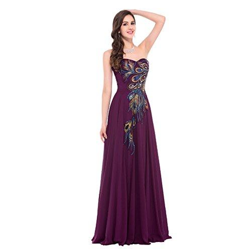 Vestiti Di 2XL CL Peacock Lunghi Partito Vita Purple Sera Chest Da MO Da Embroidery Sfera Vestito Stringe I Wipe Di Il Dell'abito Chiffon 7dZBqHw