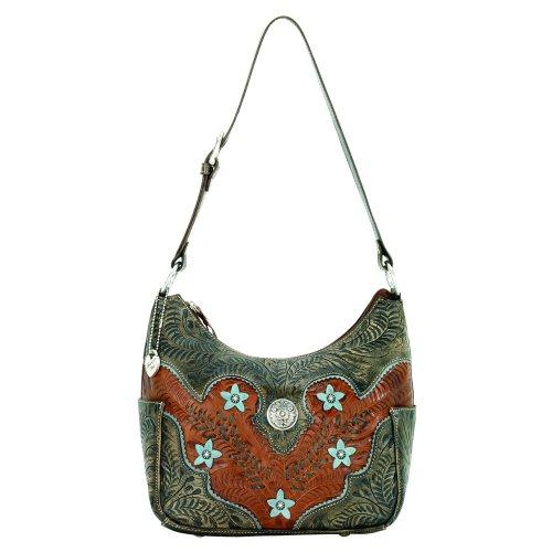 American West Desert Wildflower Zip Top Everyday Shoulder Bag,Mocha Tan/Distressed Brown/Blue,One Size, Bags Central